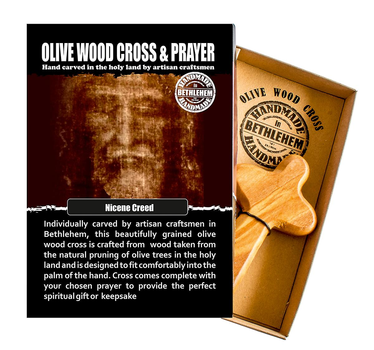 Nicene Creed Carved Olive Wood Comfort Cross Religious Keepsake Hand Made In Bethlehem