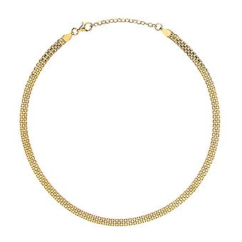 Jewelco London Ladies Gold-Plated Sterling Silver Bismark Flat Cage Choker Collarette Necklace 5mm 14-16-quot;