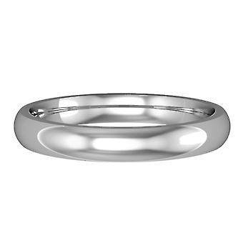 Κοσμήματα του Λονδίνου πλατινένιο 3mm δικαστήριο σχήμα γυαλιστερό δαχτυλίδι δέσμευσης γάμου μπάντα
