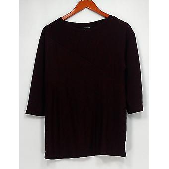 H by Halston Top XXS 3/4 Sleeve Melange Knit Boat Neckline Red A291588