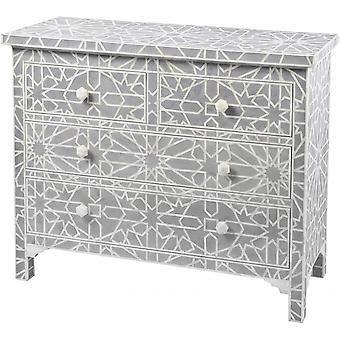 Muebles Libra Azul Gris Hueso Incrustado Geométrico 4 Cajonera Chest