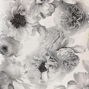 Arthouse Bloom Floral Mono Glitter Tapety Czarny Biały Blask Kwiaty Winylu