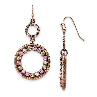 Shepherd hook Copper tone Purple Pink and Yellow Crystal Circle Long Drop Dangle Earrings Measures 51x26mm Wide Jewelry