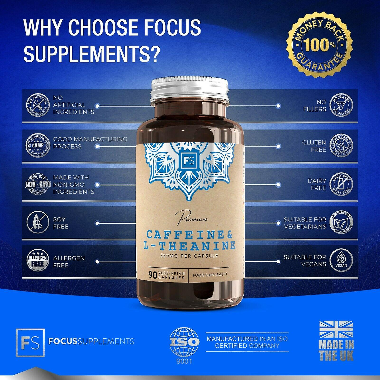 Focus Supplements Caffeine & L-Theanine (100mg + 250mg) Capsules