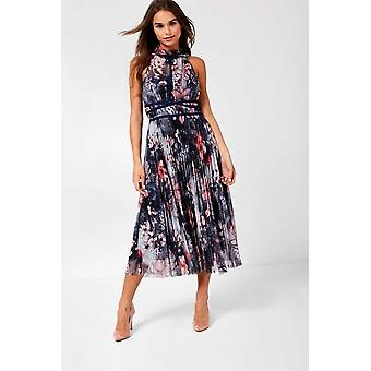 iClothing Hannah Occasion Midi Dress In Grey Floral Print-16