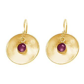 GEMSHINE women's earrings in solid 925 silver, gold plated or rose, red rubies