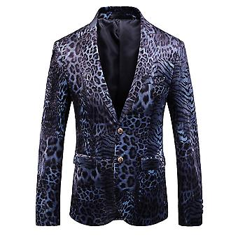 Allthemen Men's Slim Fit Leopard Print Dinner Casual Blazer