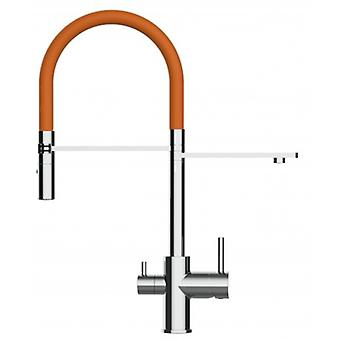 3 Way Kitchen Filter Sink Mixer With Orange Spring Spout And 2 Jet Spray, Works With All Water Filter System - 166