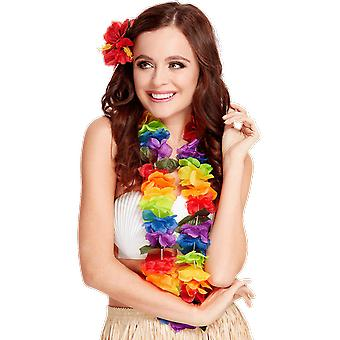 Large Rainbow Hawaiian Luau Lei Flower Garland Necklace