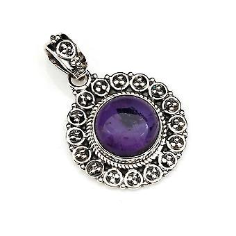 Ketju riipus Amulet Hopea 925 Sterling Hopea Ametisti Violetti Kivi (No: MAH 104-01)