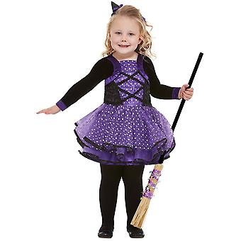Affascinante stelle strega costume bambini viola con abito e strega capelli bambini Costume