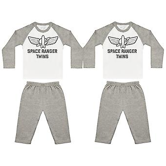 Space Ranger Twins Baby Twin Pyjamas, Baby Twins Nightwear, Baby Twins Gift