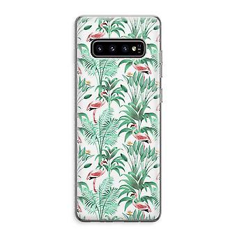 Samsung Galaxy S10 Plus Custodia trasparente (Soft) - Foglie di Flamingo