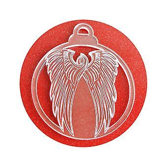 6 Pk Angel Wings Acrylic Christmas Decorations