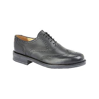 Roamers Black Softie Leather Brogue Oxford Goat Leather Quarter Lining & Sock Tpr Sole