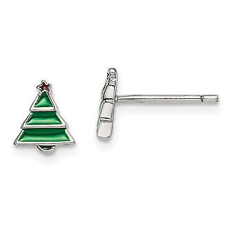 925 Sterling Silver Madi K Enameled Christmas Tree Post Earrings Jewelry Gifts for Women - .9 Grams