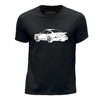 STUFF4 Boy's Round Neck T-Shirt/Stencil Car Art/911 Turbo 82/Black