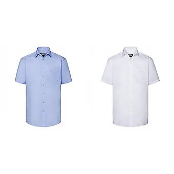 Russell Collection Mens Short Sleeve Tailored Coolmax Shirt