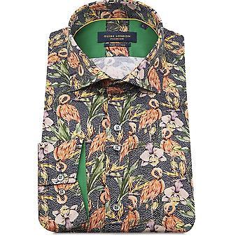 Guide London  Flamingo Print Long Sleeve Men's Shirt