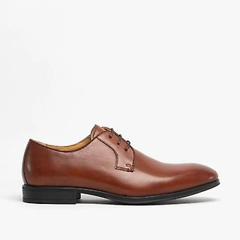 Steptronic Faro Mens Waxed Leather Derby Shoes Cognac