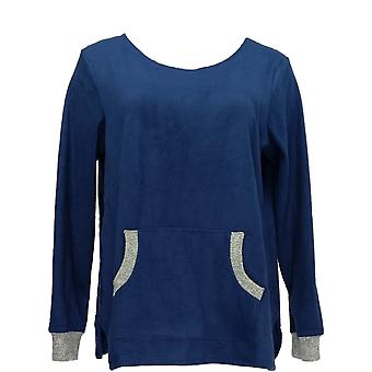 Cuddl Duds Women's Petite Pajama Top Fleecewear Stretch Novelty Blue A371298