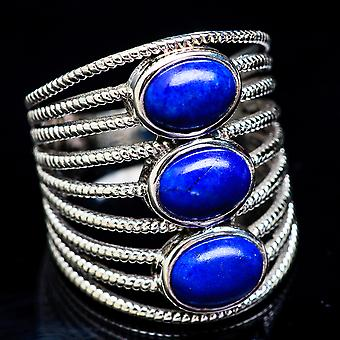 Large Lapis Lazuli Ring Size 9 (925 Sterling Silver)  - Handmade Boho Vintage Jewelry RING3449