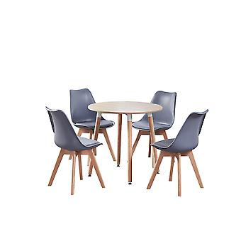 Vito Mila Round Dining Table Set With 4 Chairs