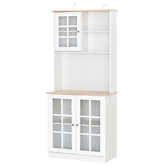 HOMCOM Kitchen Cupboard Pantry Sideboard Storage Cabinet Unit w/ Counter top Grid Glass Doors Shelves  80L x 37W x 183H cm - White