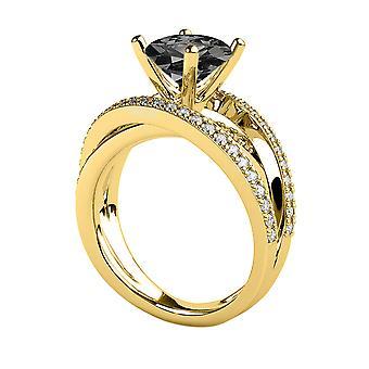 2.50 CTW Black Diamond Ring 14K Yellow Gold Multi Band Unique Vintage