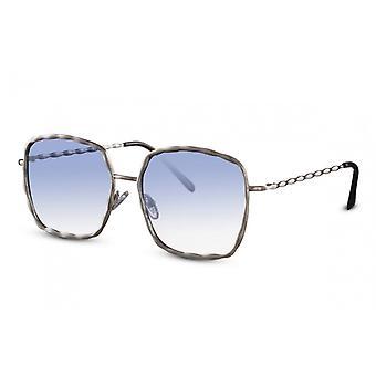 Sonnenbrillen  Damen rechteckig Kat.1 silber/blau (CWI2203)