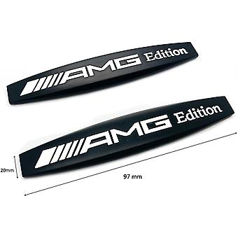 Gloss Black AMG Edition Badge Emblems For All AMGs W176 W204 W205 97mm x 20mm (1 Pair)