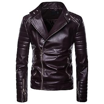 Cloudstyle Men's PU Faux Leather Decorative Zippers Motorcycle Jacket