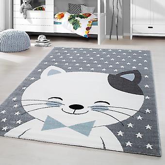 Barnmatta kort hög katt leende barnrum babyrum gråblå Fläckig