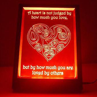 Dømt hjertet & tilbud farge endre RC LED speil lett ramme