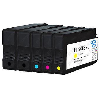1 Go Blæk kompatibelt sæt med 4 + ekstra sort til at erstatte HP 932 Printer blækpatroner (5 blæk) - Sort, Cyan, Magenta, Gul Kompatibel / ikke-OEM til HP Officejet Printere