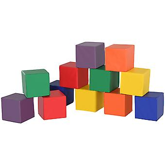 HOMCOM 12 Piece Soft Play Foam Blocks Toy Building Stacking Compliant Learning Toys for Toddler Baby Kids Preschool