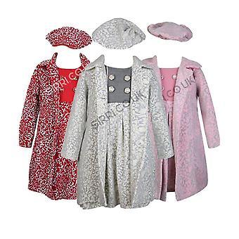 البنات تنقش المعاطف الشتوية الطباعة-الأحمر، والعاج، والوردي