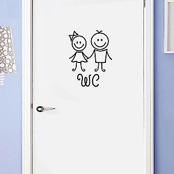 Girl Boy Wc Pvc Toilet Removable Waterproof Easy Apply Home Self Adhesive Door Sticker - Reusable Washroom Cute Cartoon Decorative