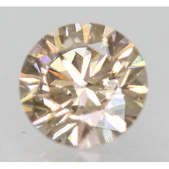 Cert 0.78 Carat Light Brown VVS2 Round Brilliant Natural Loose Diamond 5.86mm