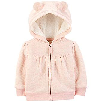 Simple Joys by Carter's Girls' Hooded Sweater Jacket with Sherpa Lining, Pink...