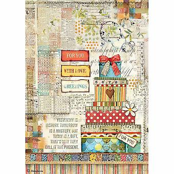 Stamperia Rice Paper A4 Patchwork Gift