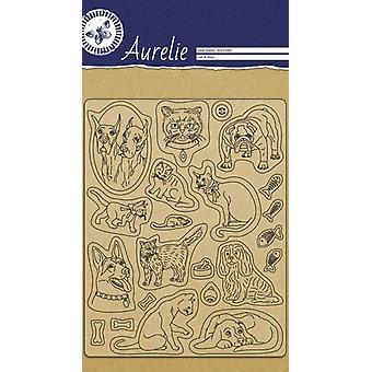 Aurelie Katter & Hundar Clear Frimärken