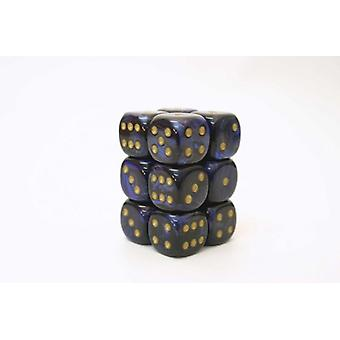 Chessex 16mm D6 Block of 12 - Scarab Royal Blue/gold