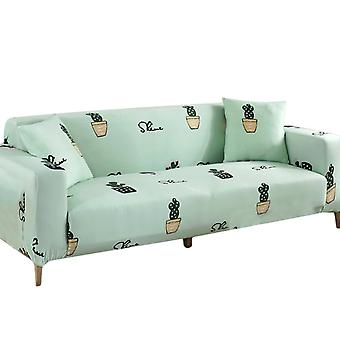 35-55 Inch Stretch Fabric Sofa Protector(Green cactus)