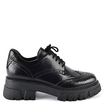 Ash LONDON Cleated Black Leather Brogues