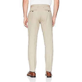 Essentials Herre's Slim-Fit Rynke-Resistent Flat-Front Chino Bukse, Khaki, 32W x 32L