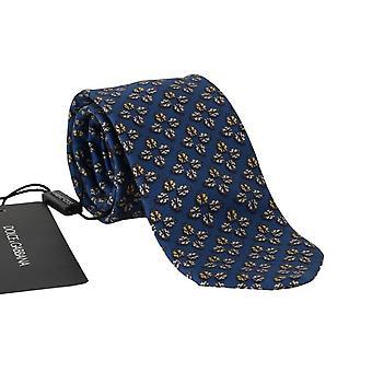 Dolce & Gabbana Blue Silk Gray Ladybug Print Tie KRA335#2