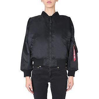 Alpha Industries 12800103 Women's Black Nylon Outerwear Jacket