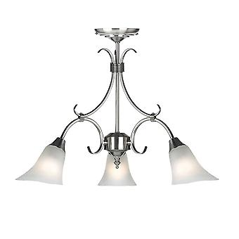 3 Light Multi Arm Ceiling Pendant Frosted Glass, Antique Silver, E14