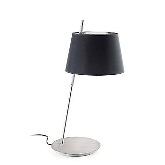 Satin Nickel Table Lamp Black Shade, E27
